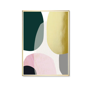 Pink Green Circles Shapes, Gold Circle Print, Geometric Poster, Modern Art Poster, Modern Wall Art, Real Gold Foil, Shapes Print, Home Decor