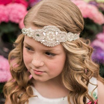 Scarlett Rose Pink Crystal Jewel Headband