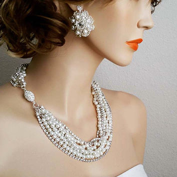 Bridal Jewelry Set Statement Pearl Rhinestone Necklace Earrings Set Wedding Jewelry Set Bridal Necklace Floral Earrings