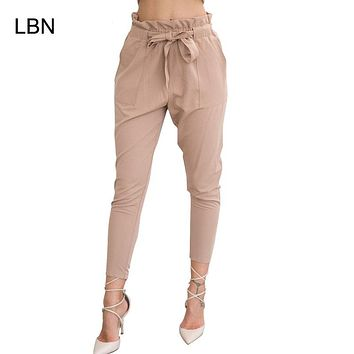 High Elastic Waist Harem Pants Women Spring Summer Fashion Ninth Pants Female Office Lady Black Trousers Belt