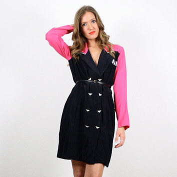 Vintage Hot Pink Black Dress Mini Dress Blazer Shirtdress Shirt Dress New Wave 1980s 80s Mod Neon Pink Color Block Dress M Medium L Large