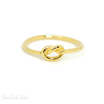 Yellow Gold Over Sterling Silver Love Knot Ring