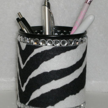 Zebra Print & Bling Pen/Pencil Cup Holder