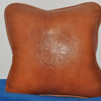 Handmade Leather couch, Sofa Couch Pillow Soft Leather Pillow cover