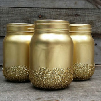 Shabby Chic Painted Mason Jars, Rustic Wedding Decor, Painted Ma