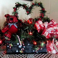 Lighted Christmas Floral / Holiday Christmas Floral / Lighted Floral With Bear / Plaid Floral Arrangement / Christmas Floral Heart Red Green