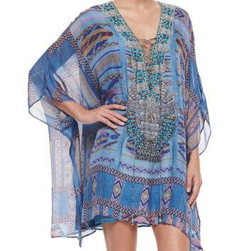 Printed Lace-Up Short Caftan Dress, Size: ONE SIZE, STITCH OF CONDOR - Camilla