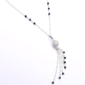 Black Crystal Silver Plated Art Deco Fringe Long Chain Necklace Tassel Pavé Jewelry