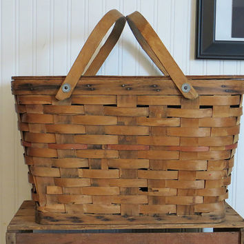 Wicker Picnic Basket with Wood Lid Vintage 1940s Rustic Decor
