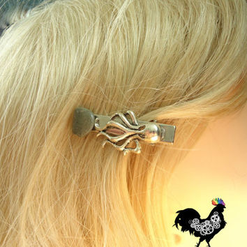 Octopus Barrette Small Hair Accessory Silver Tone Alligator Clip Small Octopus Silver Octopus Pebble Barrette  #PR37