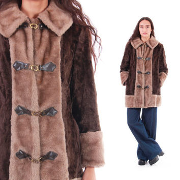 70's Boho Faux Fur Coat Brown and Tan Double Breasted Clasp Mod Hippie Vintage Winter Outerwear Womens Size Medium