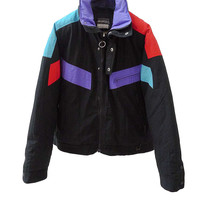 J005 80S VINTAGE SKILLIQUE Colorblock Windbreaker Jacket