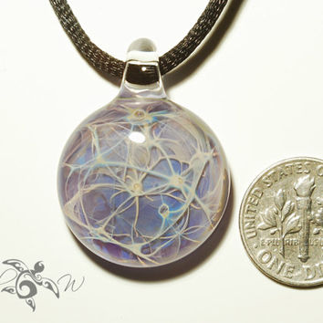 Fairy Light Pendant - Neuron Universe Filament Pattern - Hand Blown Glass Pendant - Glass Jewelry - Made with Pure Silver - Free Shipping!