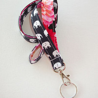 Elephant Lanyard  ID Badge Holder - navy blue Black and white elephants pink dahlias  - Lobster clasp and key ring
