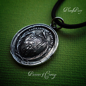 Patience and Courage Wax Seal Necklace in Latin by PlumAndPoseyInc