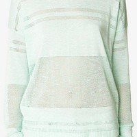 Pointelle Striped Sweater