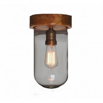 Edison vintage corridor living room balcony wood clear glass shade  industrial ceiling lamp light