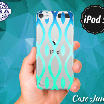 Vintage Line Art Pattern Mint Blue Ombre Cute Tumblr Inspired Rubber Transparent Crystal Clear Custom Case For iPod Touch 5th Generation Gen