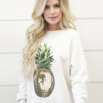 Wildfox Sommers Party Pineapple Sweater in Alabaster