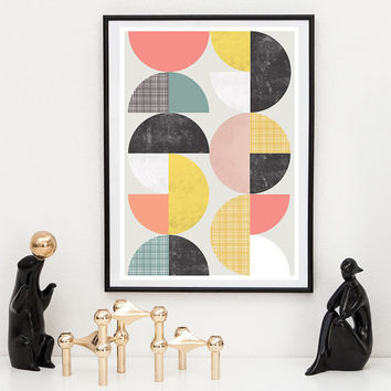 Abstract wall art, geometric print, mid century modern poster, colorful geometric art, scandinavian print, nordic design, nursery print