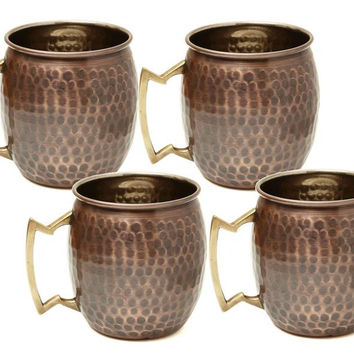 16 oz Antique Hammered Solid Copper Moscow Mule Mugs - Set of 4