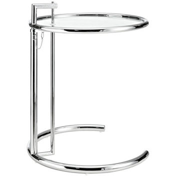Modern Classic Side Table Adjustable Height Polished Chrome & Glass Bauhaus Design * Free Shipping Witin The CONT. U.S.