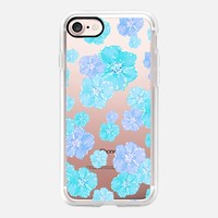 Blossoms Aqua Turquoise - Transparent/Clear background iPhone 7 Case by Lisa Argyropoulos | Casetify
