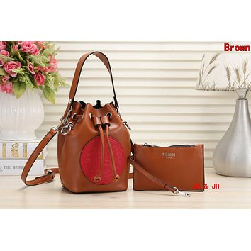 FENDI Newest Fashionable Women Shopping Bag Leather Handbag Tote Wrist Bag Two Piece Set Brown