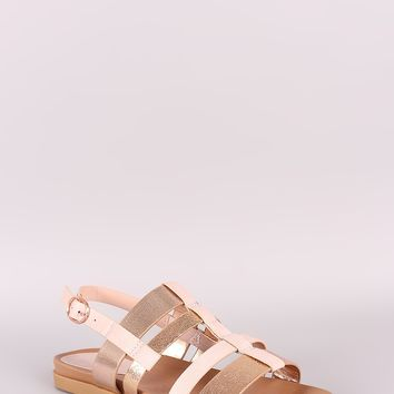 Bamboo Strappy Two Tone Slingback Flat Sandal
