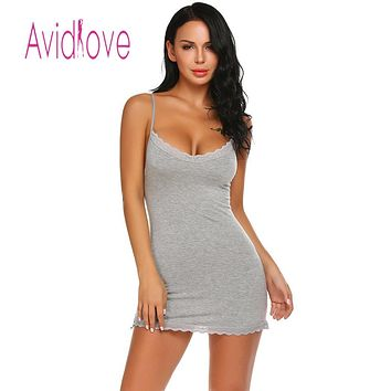 Avidlove Women Night Dress Sleepwear Nighty Night Gown Nightgown Crochet V Neck Lace Backless Sexy Short Babydoll lenceria