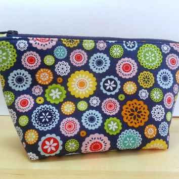 Makeup Zipper Pouch With Flat Bottom ~ Lazy Day Floral Blue by Riley Blake