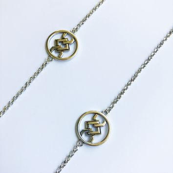 Geo necklace long sterling silver