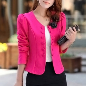 Women Suit Plus Size Basic Jackets Coats Regular Sleeve Outerwear Coats Q-10