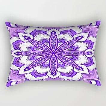 Purple Flower Mandala Rectangular Pillow by SimplyChic