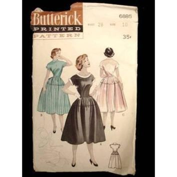 Vintage Sewing Butterick Pattern 6885 Teen Dress Size 10 1950S