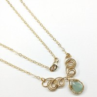 Gold Filled Wire Sculpted Mint Gemstone Drop Necklace