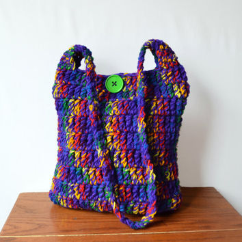 Crochet Hobo Bag, Hippie Purse, Purple, Rainbow, Bright, Colorful, Sling Bag, Boho Bag