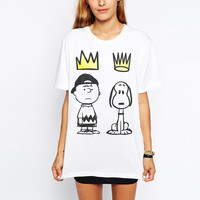 Snoopy Cartoon Print Short Sleeve Graphic Tee