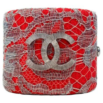 Chanel Bracelet - New - Pink Wide Tweed Lace Bangle Cuff - Silver CC 2014 14P