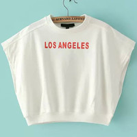 LOS ANGELES Graphic Print White Loose Fitting Muscle Crop Tee