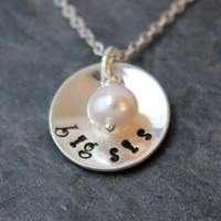 Big sis or lil sis sterling silver hand stamped necklace with Freshwater pearl gift for sister daughters sorority, silver necklace, handmade