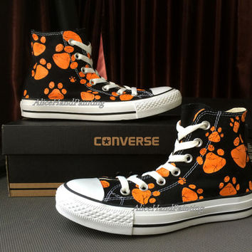 Design Orange Paw Print Converse Custom Hand Painted Shoes Custom Converse,Painted Shoes,Custom Shoes,Converse Customize Hand Painted Gifts