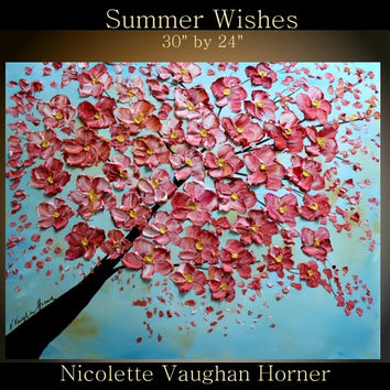 """Original Oil  Landscape gallery canvas abstract Thick texture 36"""" palette knife  Oil painting Summer Wishes  by Nicolette Vaughan Horner"""