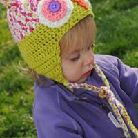 Baby owl earflap hat - Lime, pink, and white - Ready to ship