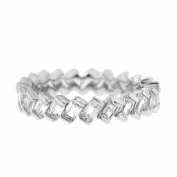 Eternity Band of Baguette Emerald Cut Cubic Zirconia by CZ Sparkle Jewelry®