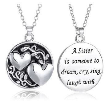 Sister Tree Two-sided Alloy Pendant Necklace Sweet Heart Link Chain