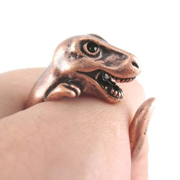 Dinosaur T-Rex Prehistoric Animal Wrap Around Hug Ring in Copper | US Sizes 4 to 9