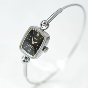 Tiny women's watch bracelet Seagull, cocktail watch black face, rectangular girl's watch bracelet, women's watch petite, delicate watch gift