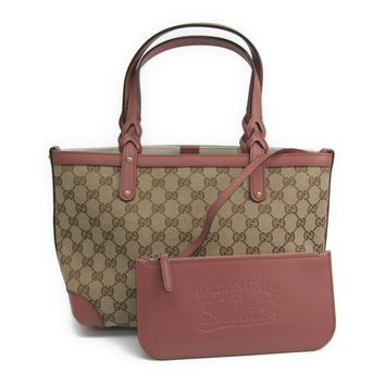 Gucci GG Canvas 269878 Women's Leather Canvas Tote Bag Brown GG,Pink Be BF317330