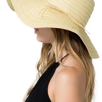 Straw Bow Trimmed Floppy Wide Brim Hat